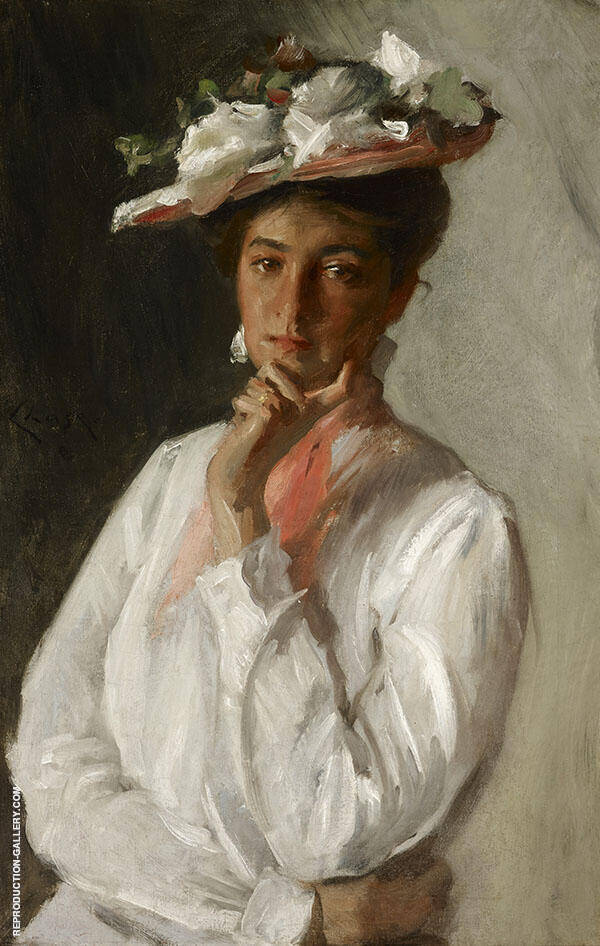 The Woman in White Painting By William Merritt Chase