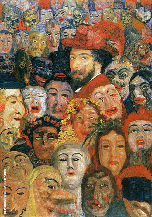 Portrait of the Artist Surrounded by Masks 1809 Painting By James Ensor