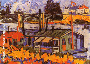 Les Bateaux Lavoirs 1906 By Maurice de Vlaminck - Oil Paintings & Art Reproductions - Reproduction Gallery