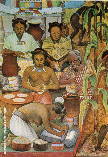The History of Mexico Haustec Civilisation Painting By Diego Rivera