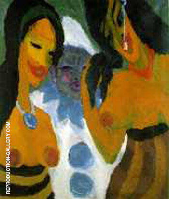 Woman and a Pierrot 1917 By Emil Nolde