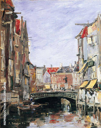 La Place Ary Scheffer, Dordrecht By Eugene Boudin - Oil Paintings & Art Reproductions - Reproduction Gallery