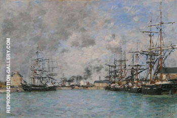 The Basin, Deauville c1880 By Eugene Boudin