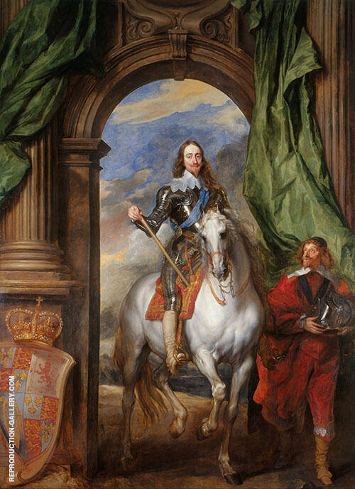 Charles I on Horseback with Monsieur de St Antoine 1633 By Van Dyck
