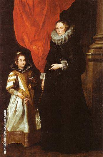 Geronima Sale Brignole and her Daughter Painting By Van Dyck