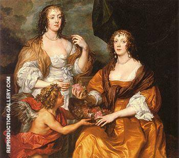 Dorothy Savage Viscountess of Andover and her Sister Elizabeth Lady Thimbleby 1637 Painting By ...