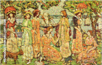 The Idlers c1918 By Maurice Prendergast Replica Paintings on Canvas - Reproduction Gallery