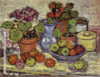 Cinerarias and Fruit 1912 By Maurice Prendergast