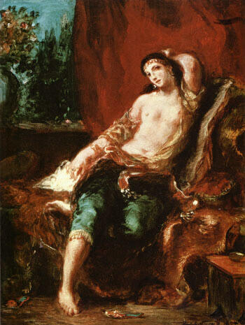 Odalisque 1857 By F.V.E. Delcroix - Oil Paintings & Art Reproductions - Reproduction Gallery