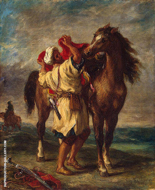 Arab Saddling His Horse 1855 Painting By F.V.E. Delcroix