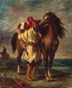 Arab Saddling His Horse 1855 By Eugene Delacroix