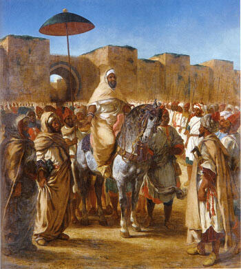 The Sultan of Morocco and his Entourage 1845 By F.V.E. Delcroix - Oil Paintings & Art Reproductions - Reproduction Gallery