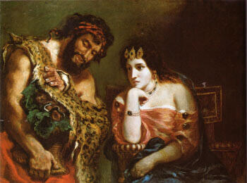 Cleopatra and the Peasant 1838 By F.V.E. Delcroix - Oil Paintings & Art Reproductions - Reproduction Gallery