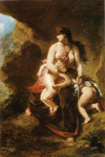 Medea about to Kill her Children 1838 By F.V.E. Delcroix - Oil Paintings & Art Reproductions - Reproduction Gallery