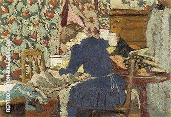 Interior Marie Leaning Over Her Work Painting By Edouard Vuillard