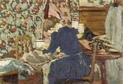Interior Marie Leaning Over Her Work By Edouard Vuillard