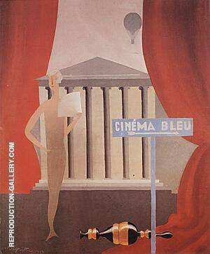 The Blue Cinema, 1925 Painting By Rene Magritte - Reproduction Gallery