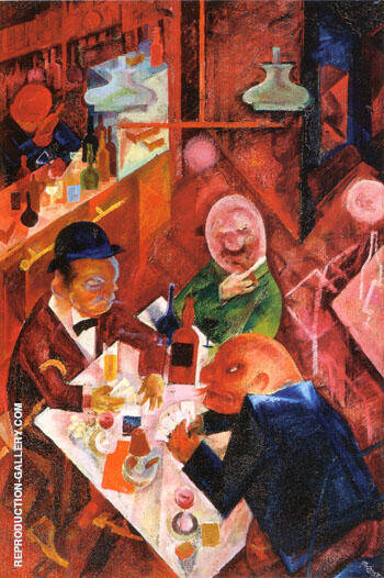 Cafe 1916 Painting By George Grosz - Reproduction Gallery