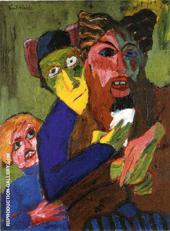 Excited People 1913 By Emil Nolde - Oil Paintings & Art Reproductions - Reproduction Gallery