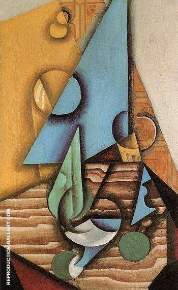 Bottle and Glass on Table c1913 By Juan Gris