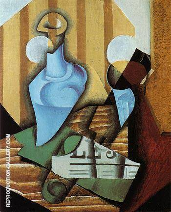 Still Life with Bottle and Glass 1914 By Juan Gris - Oil Paintings & Art Reproductions - Reproduction Gallery