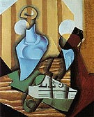 Still Life with Bottle and Glass 1914 By Juan Gris