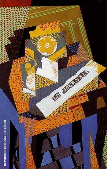 Newspaper and Fruit Dish 1916 By Juan Gris