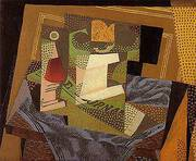 Fruit Dish on a Blue Tablecloth 1916 By Juan Gris