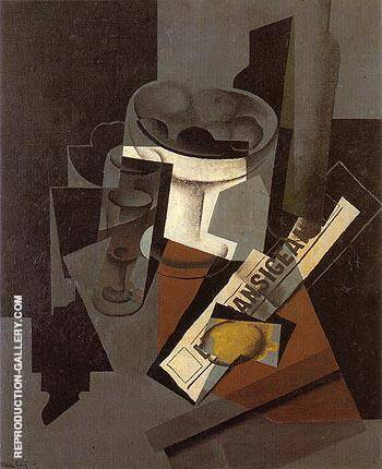 Fruit Dish Glass and Lemon 1916 By Juan Gris