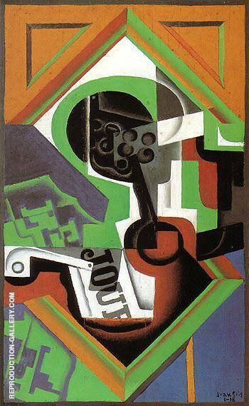 Pipe and Fruit Dish with Grapes 1918 By Juan Gris