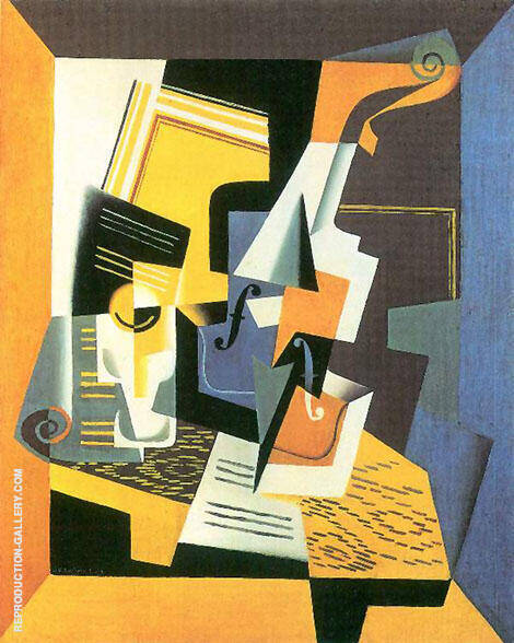Violin and Glass 1918 By Juan Gris - Oil Paintings & Art Reproductions - Reproduction Gallery