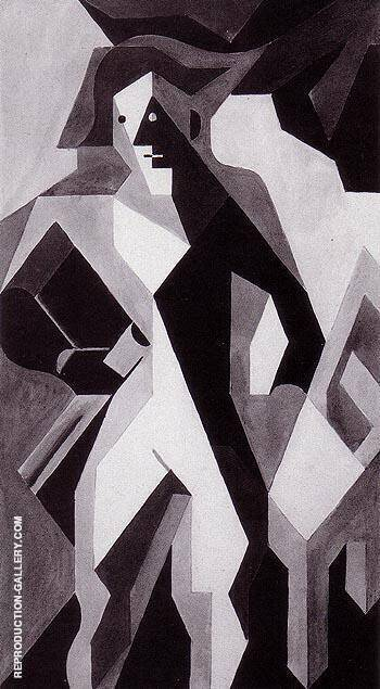 Standing Harlequin Harlequin with a Chair 1919 By Juan Gris
