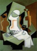 Bottle and Fruit Dish 1919 By Juan Gris