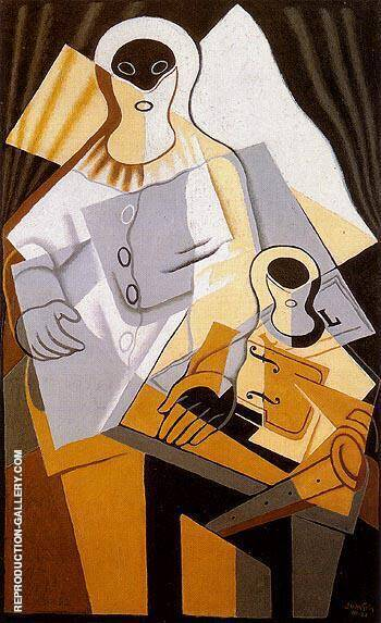 Reproduction of Pierrot 1921 by Juan Gris | Oil Painting Replica On CanvasReproduction Gallery