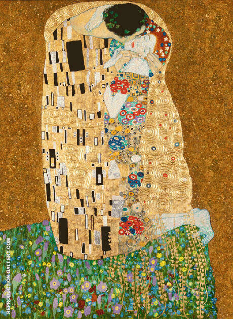 Reproduction of The Kiss Portrait Format by Gustav Klimt | Oil Painting Replica On CanvasReproduction Gallery