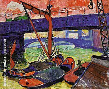 Barges on the Thames Cannon Steet Bridge 1906 By Andre Derain - Oil Paintings & Art Reproductions - Reproduction Gallery