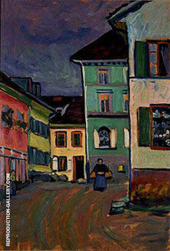 Murnau Top of the Johannisstrasse, 1908 By Wassily Kandinsky Replica Paintings on Canvas - Reproduction Gallery