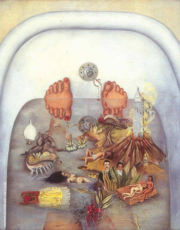 What I saw in the Water 1938 by Frida Kahlo | Oil Painting Reproduction Replica On Canvas - Reproduction Gallery