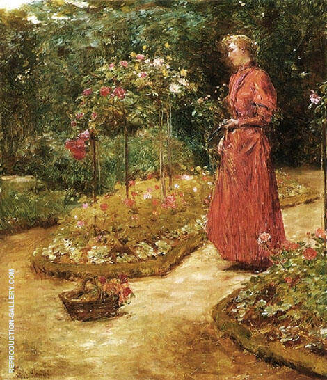 Woman Cutting Roses in a Garden 1888 By Childe Hassam - Oil Paintings & Art Reproductions - Reproduction Gallery