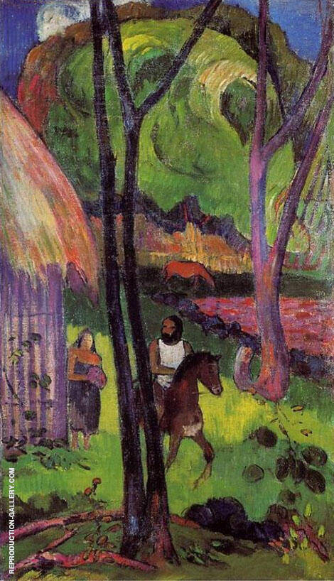 Cavalier Devant la Case 1902 By Paul Gauguin - Oil Paintings & Art Reproductions - Reproduction Gallery