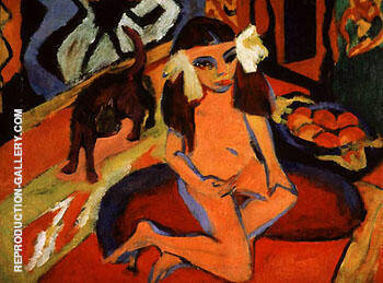 Reproduction of Girl with Cat Franzi P 1910 by Ernst Kirchner | Oil Painting Replica On CanvasReproduction Gallery