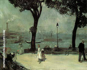 Park on the River 1902 By William Glackens Replica Paintings on Canvas - Reproduction Gallery