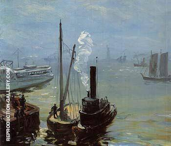 Tugboat and Lighter 1904 By William Glackens - Oil Paintings & Art Reproductions - Reproduction Gallery