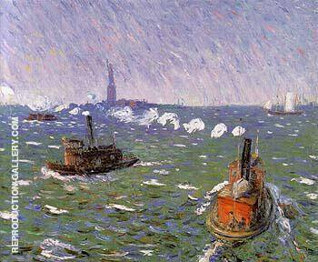 Reproduction of Breezy Day Tugboats New York Harbor 1910 by William Glackens | Oil Painting Replica On CanvasReproduction Gallery