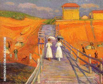 Cape Cod Pier 1908 By William Glackens - Oil Paintings & Art Reproductions - Reproduction Gallery