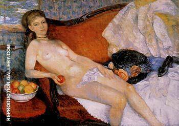 Nude With Apple 1910 By William Glackens - Oil Paintings & Art Reproductions - Reproduction Gallery