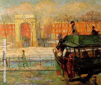 Descending From the Bus 1910 By William Glackens - Oil Paintings & Art Reproductions - Reproduction Gallery