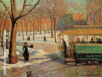 The Green Car 1910 By William Glackens Replica Paintings on Canvas - Reproduction Gallery