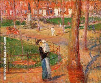 Mother and Baby Washington Square 1914 By William Glackens - Oil Paintings & Art Reproductions - Reproduction Gallery