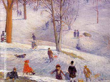 Reproduction of Sledding Central Park 1912 by William Glackens | Oil Painting Replica On CanvasReproduction Gallery